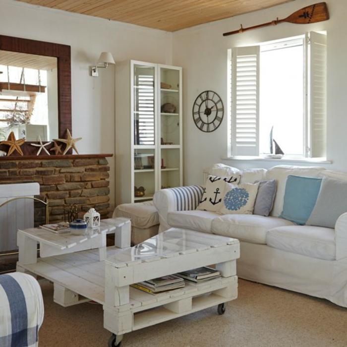 einrichtungsbeispiele maritime deko krake blau wohnzimmer eingang blaue möbeln aus paletten
