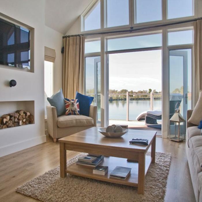 einrichtungsbeispiele maritime deko krake blau wohnzimmer eingang blaue see