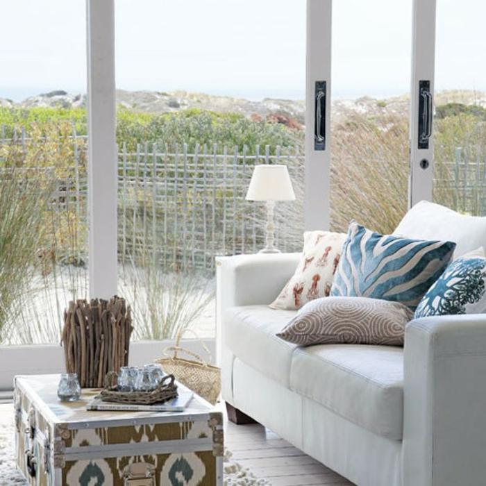 wohnzimmer deko blau:39 gelungene Einrichtungsbeispiele für ein maritimes Küsten-Feeling
