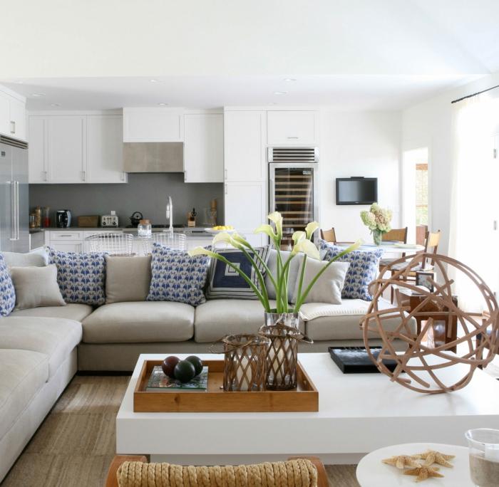 einrichtungsbeispiele maritime deko krake blau wohnzimmer