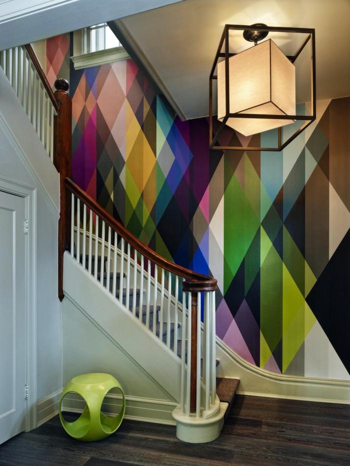 wohnideen dekoideen geometrie farbe flur