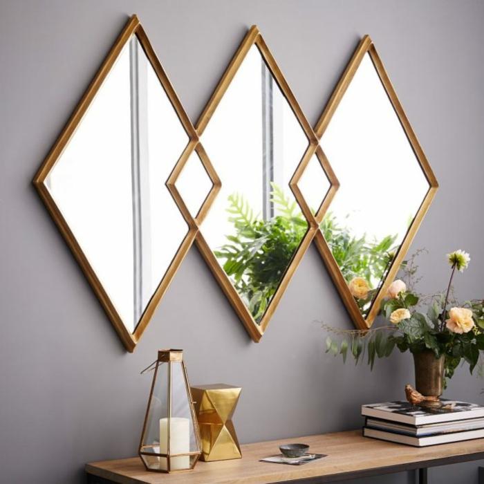 einrichtungsbeispiele wohnideen dekoideen geometrie farbe raute form spiegel