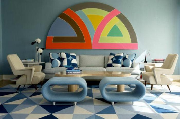 einrichtungsbeispiele wohnideen dekoideen geometrie farbe smart klare textur wand aufleber 70er
