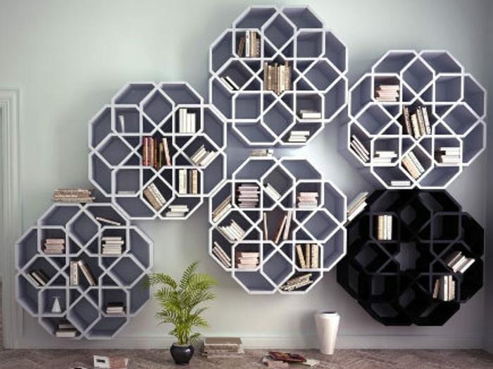 einrichtungsbeispiele wohnideen dekoideen geometrie farbe smart klare textur wand aufleber bücherregal