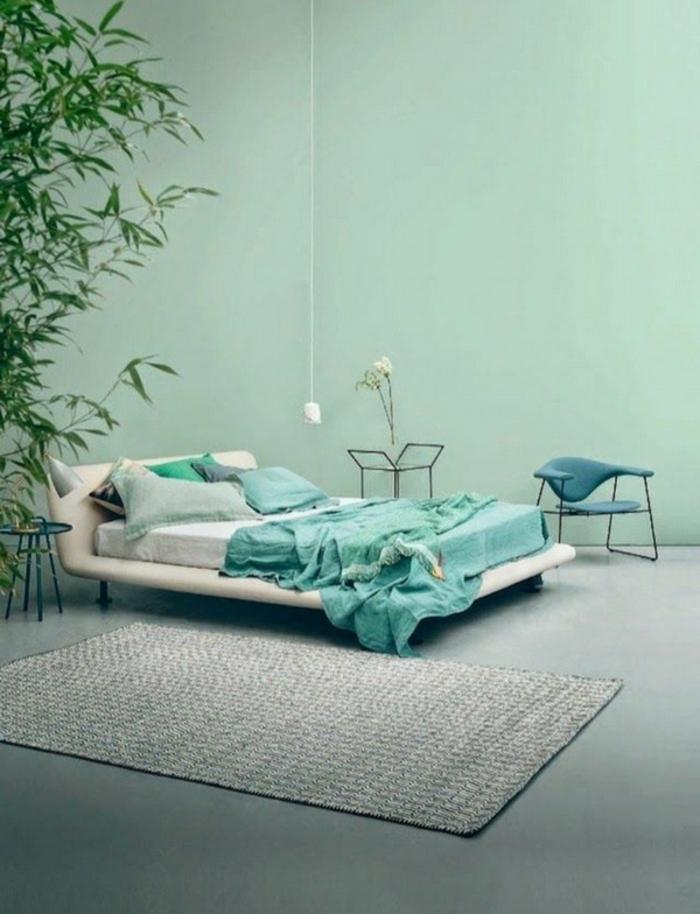 einrichtungsbeispiele wohnideen dekoideen geometrie farbe smart klare textur wand aufleber toninton grün