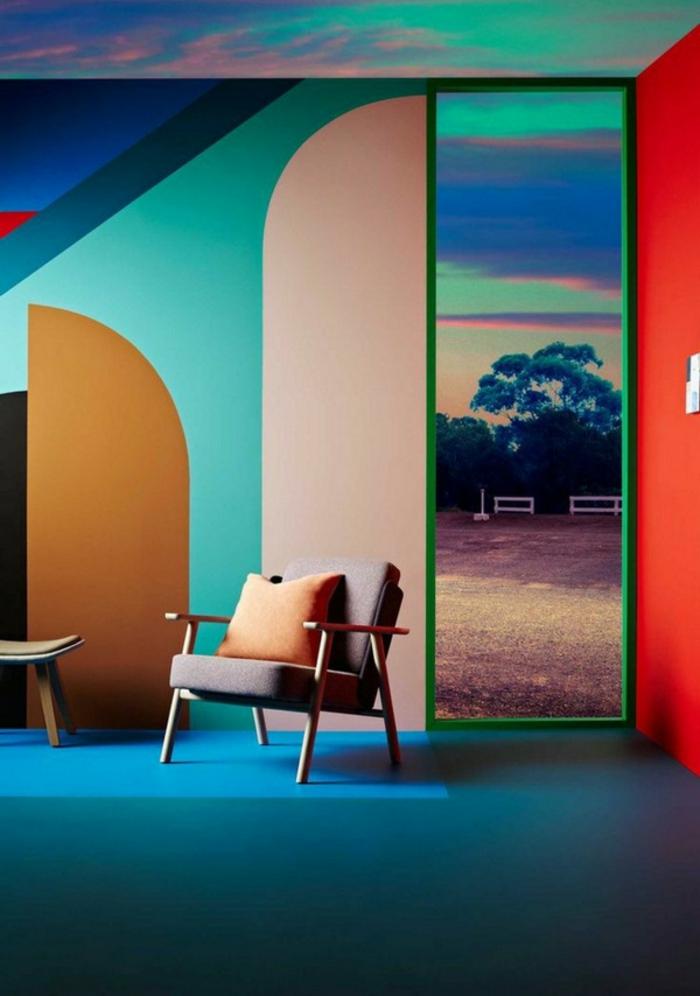 wohnideen dekoideen geometrie farbe smart klare textur wand aufleber wandgestaltung-großflaechig