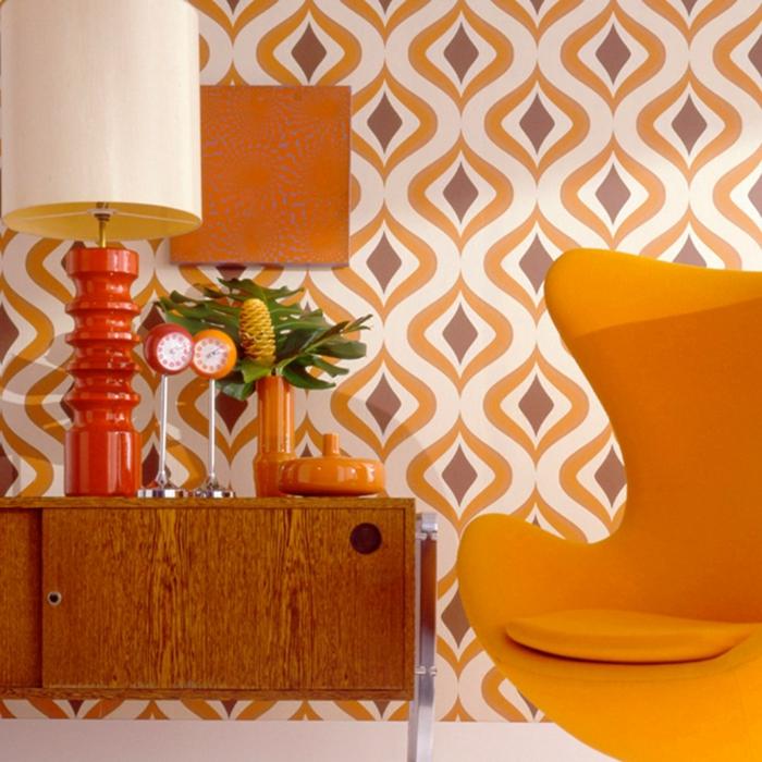 wohnideen dekoideen geometrie farbe smart klare textur wand aufleber wandgestaltung-orange