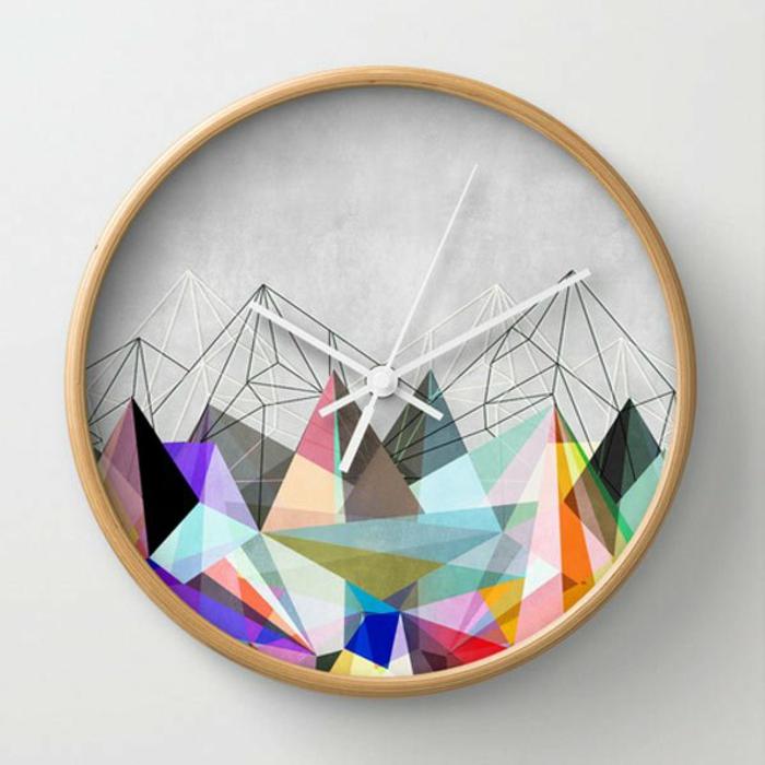 wohnideen dekoideen geometrie farbe wanduhr