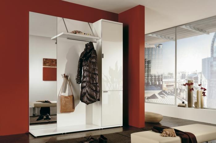 Einrichtungsideen Flur Moderne Möbel Spiegel Stauraum Farbige Akzentwand