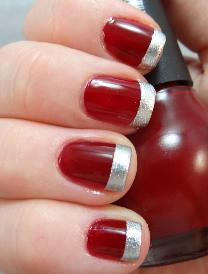 french maniküre rot silber nageldesign