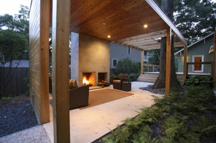 garten gestalten ideen patio feuerstelle gartenpflanzen