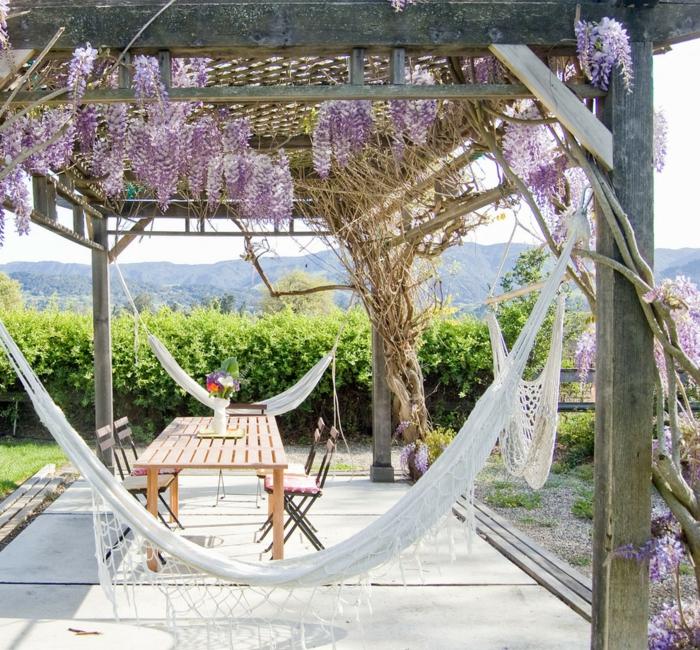 garten hängematte weiß essbereich gartenideen gartenpflanzen