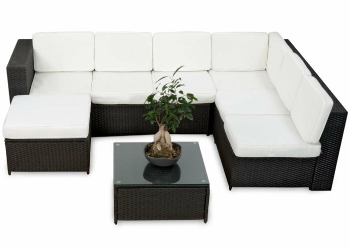 garten loungemöbel delux garnitur rattan weißer stoff polsterung