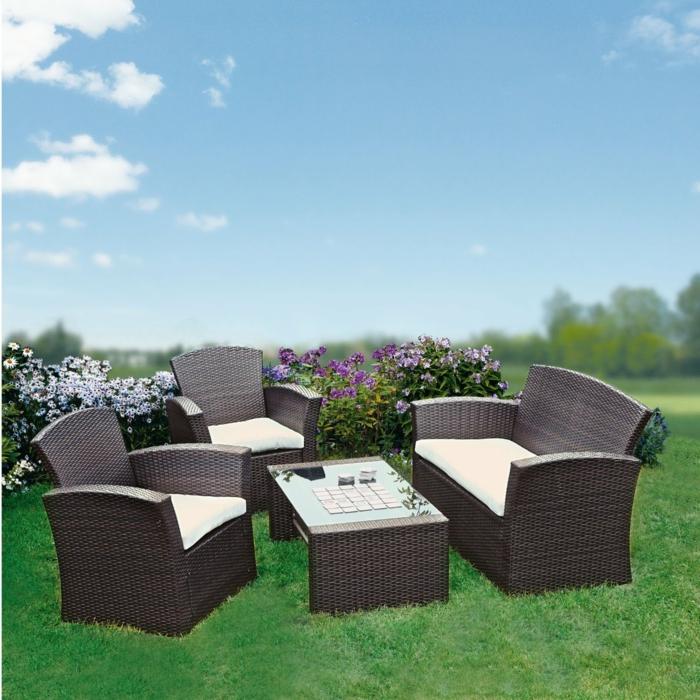 garten loungemöbel polyrattan braun zwei sessel tisch