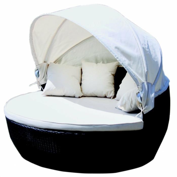 garten loungemöbel xxl sonneninsel weiße polsterung rattan kissen
