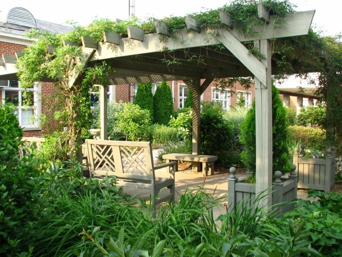 garten pergola außenmöbel pflanzen gartengestaltung ideen