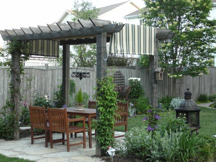 garten pergola gartengestaltung ideen kletterpflanzen hinterhof