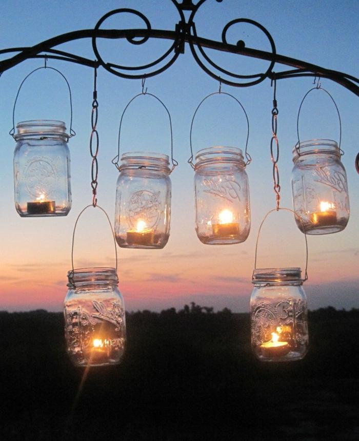 gartendeko ideen einmachgläser wiederverwenden leuchten