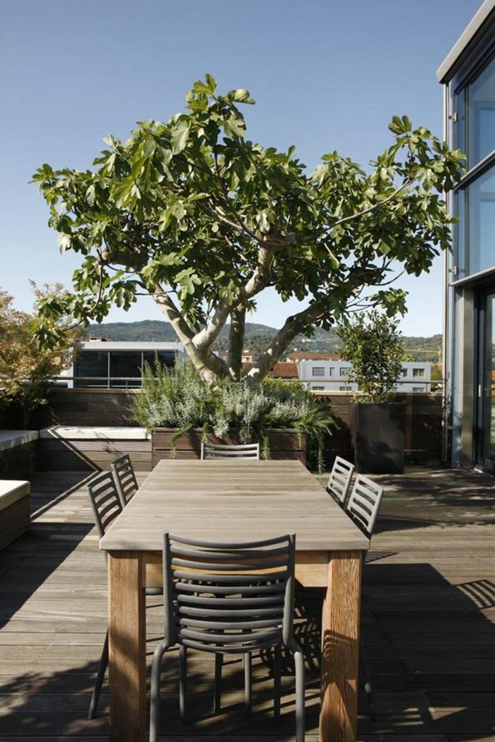 gartengestaltung ideen patio gestalten holztisch holzboden gartenideen