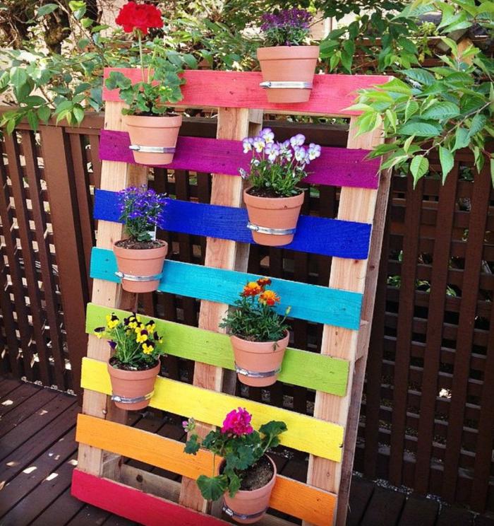 Gartenideen Blumentöpfe Paletten Außenbereich Dekorieren