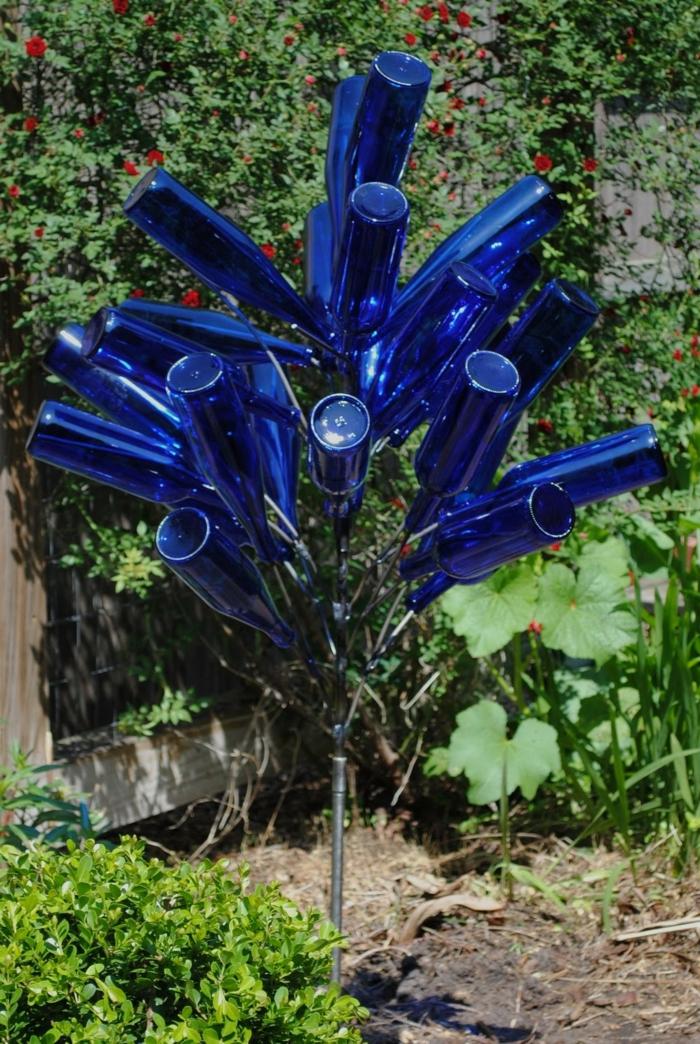 gartenideen flaschen wiederverwenden gartendeko