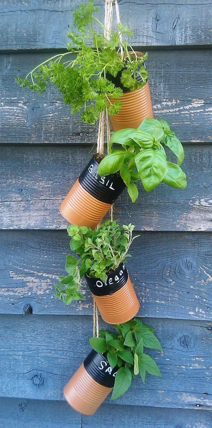 gartenideen garten pflanzen alte dosen wiederverwenden