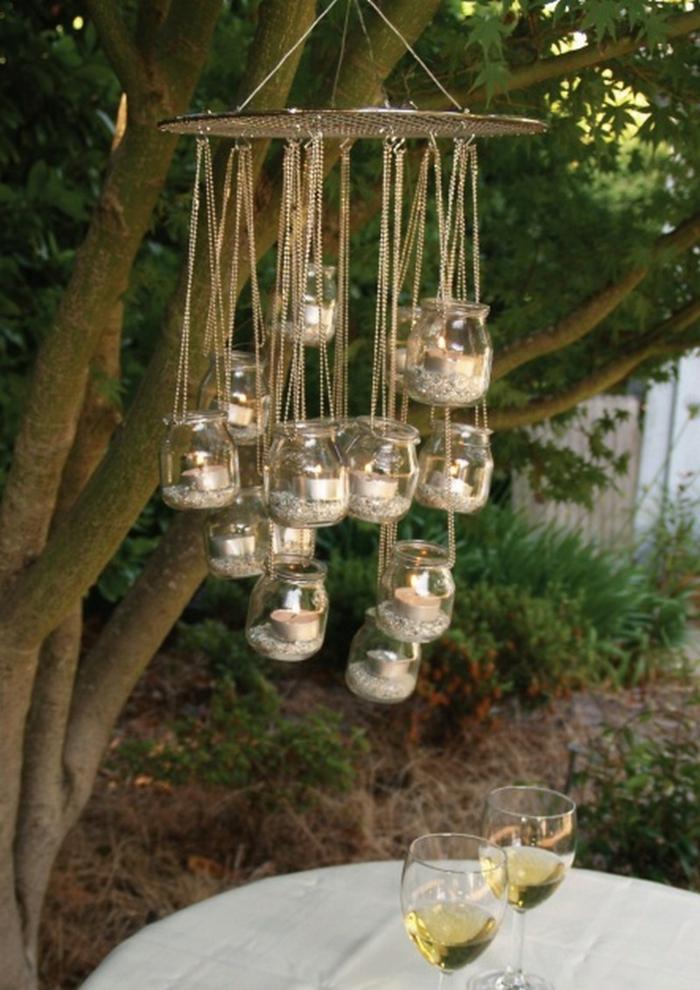 gartenideen leuchter garten beleuchten einmachgläser