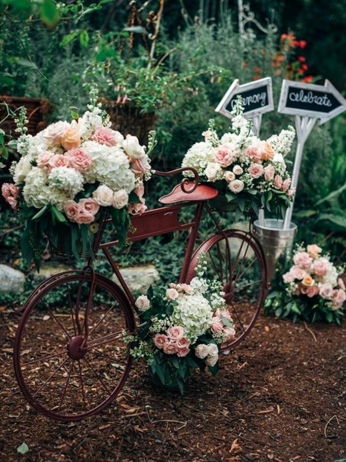 gartenparty dekoideen retro fahrrad upcycling dekoration rosen hortensien