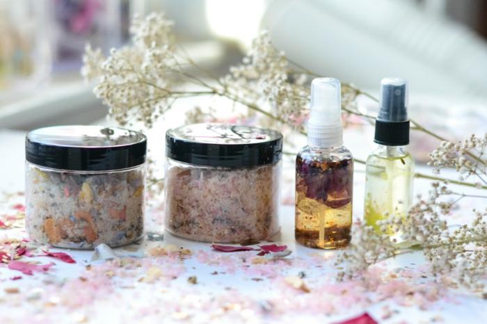gesund wohnen badewanne badeöle badesalz selber machen