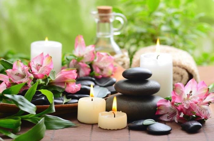 gesund wohnen entspannung kerzen steine blumen zen atmosphäre