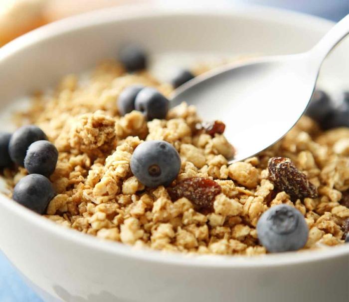 gesunde haut lebensmittel gesunde ernährung haferflocken blaubeeren sultaninen