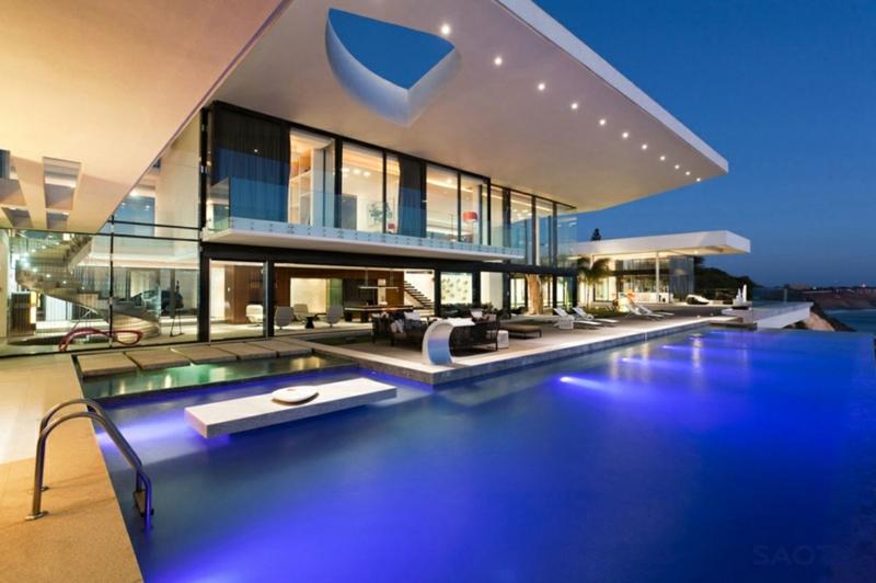 grüne Architektur Häuser bauen Architektenhaus Hausfassade Pool