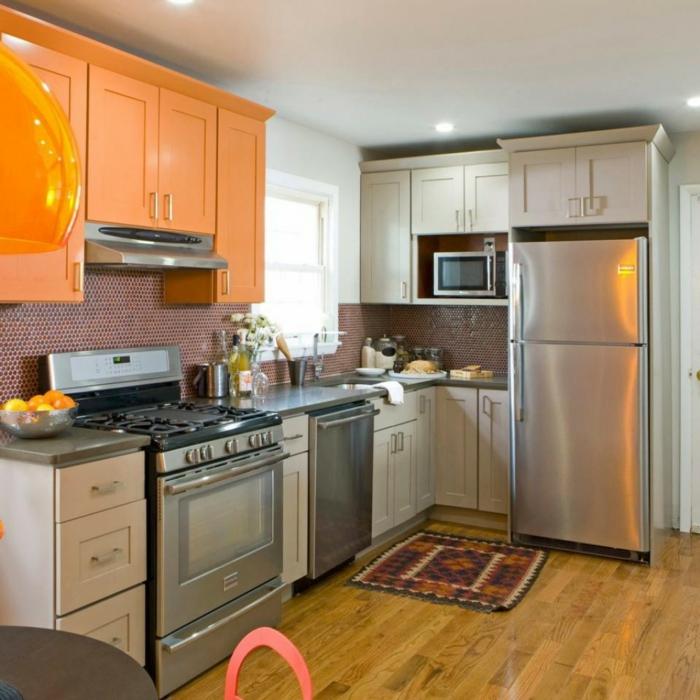 griffe für küchenschränke kleine küche orange küchenschränke
