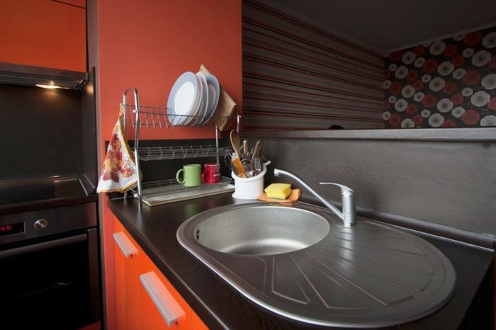 griffe für küchenschränke orange küchenschränke handgriffe küche einrichten ideen