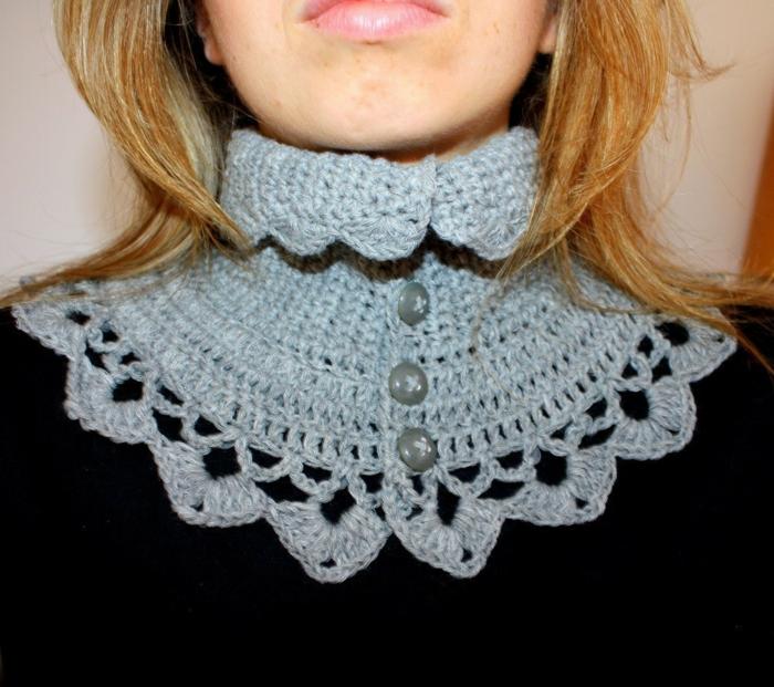 häkelmuster viktorianischer kragen knöpfe diy ideen