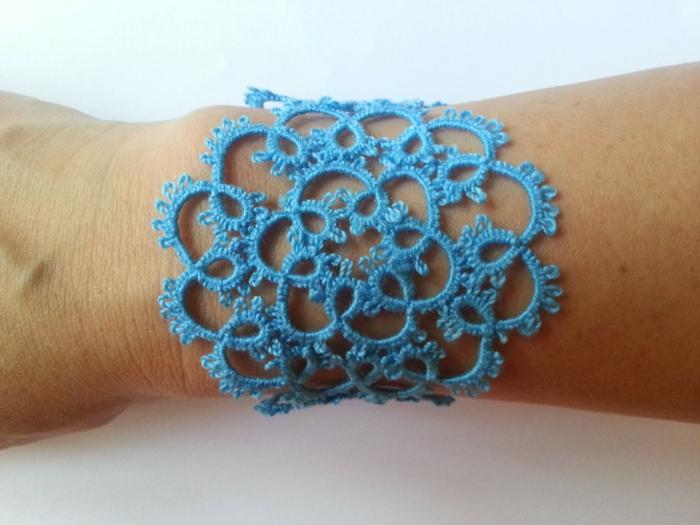 häkeln ideen armband häkeln blau elegant