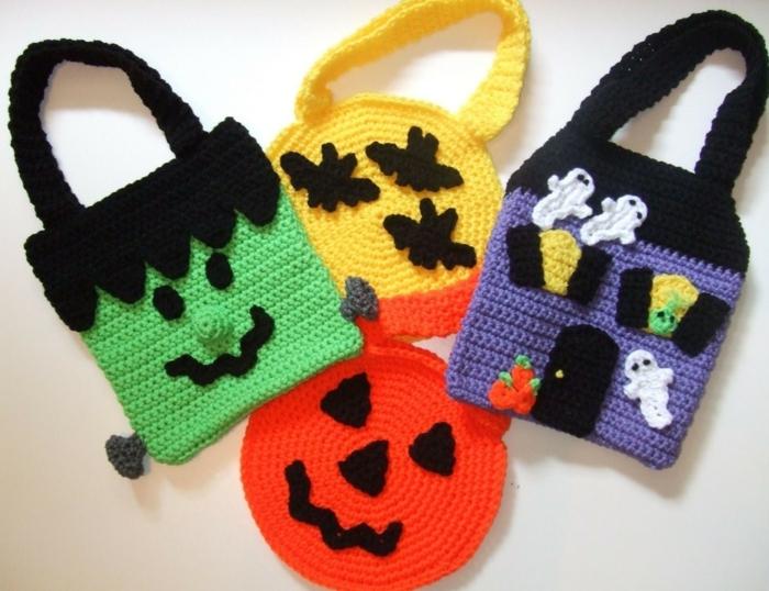 häkeln ideen farbige taschen halloween