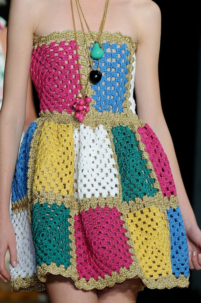 häkeln ideen farbiges kleid häkeln modetrends
