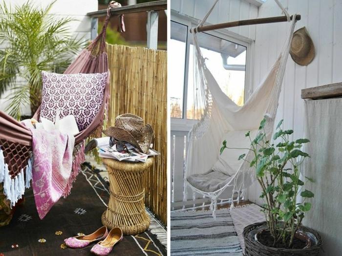 hängematte balkon hängesessel aufhängen dekokissen beistelltisch pflanzen