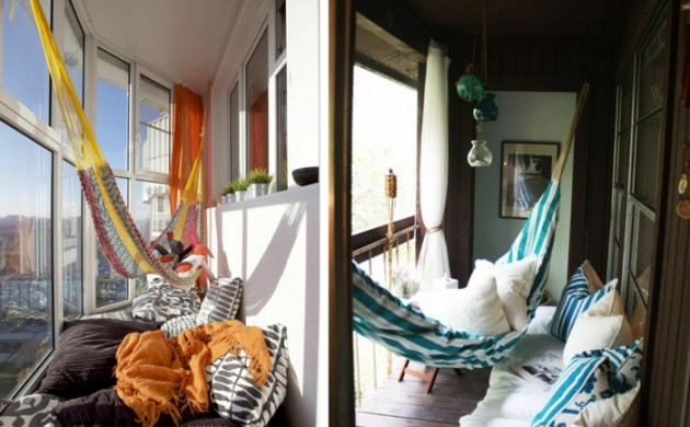 hängematte-balkon-kleiner-balkon-einrichtungsideen