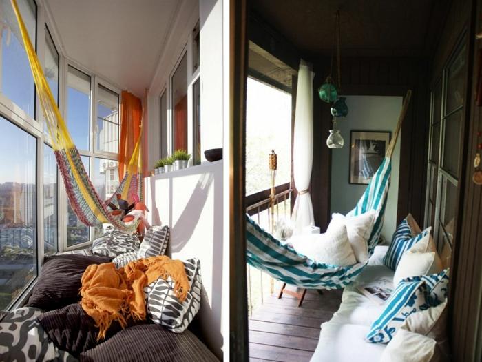 hängematte balkon kleiner balkon einrichtungsideen