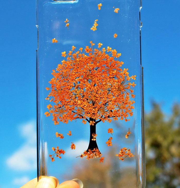 handy schutzhülle blumen baum orangene blüten herbarien