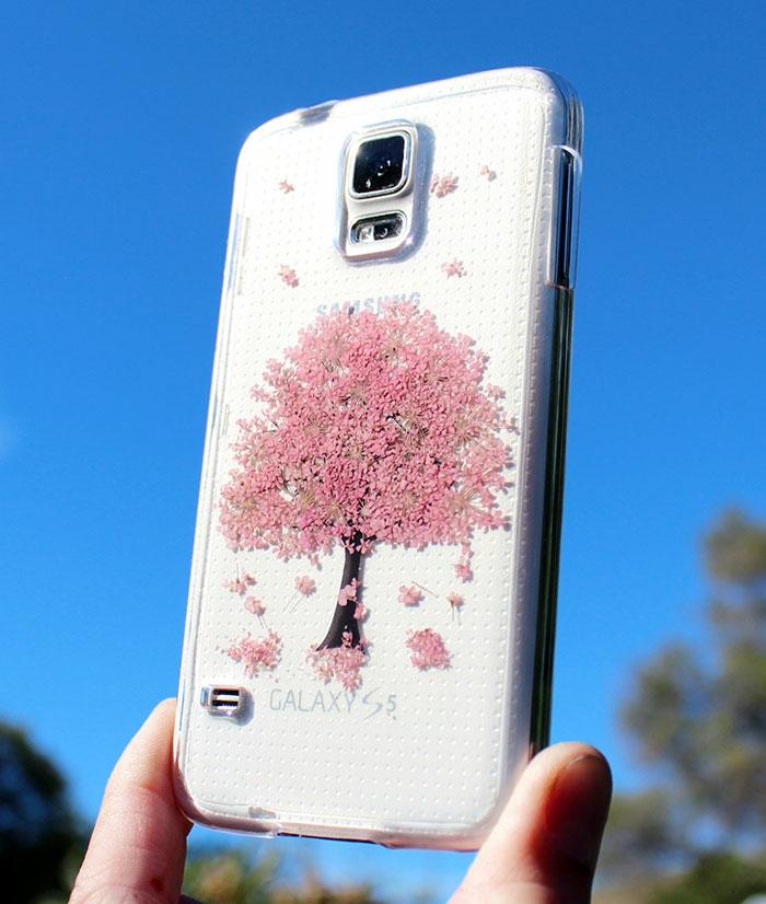handy schutzhülle blumen baum rosa blüten herbarien samsung galaxy