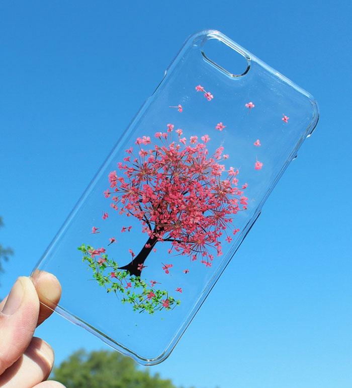 handy schutzhülle blumen baum rosa blüten