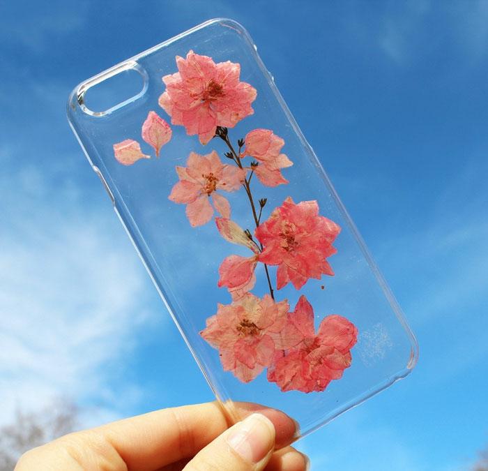 handy schutzhülle blumen frühlingszweige kirschblüten herbarien