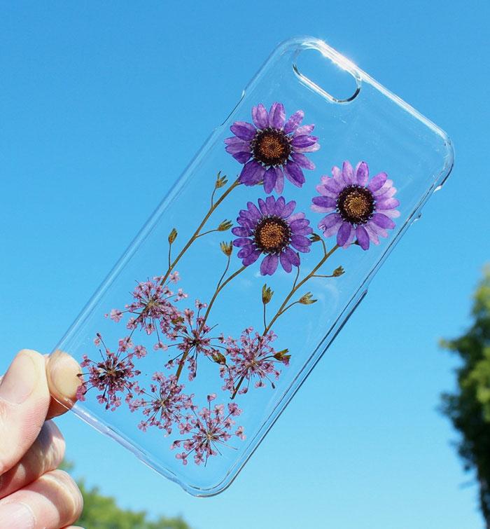 handy schutzhülle blumen sommerblüten lila herbaria