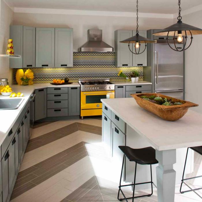 küchendesign mosaik küchenrückwand küchenschränke bodenbelag ideen