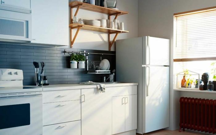 küchendesign stauraum ideen offene wandregale weiße küchenmöbel