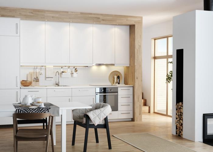 küchendesign weiße kücheneinrichtung beleuchtung teppichläufer