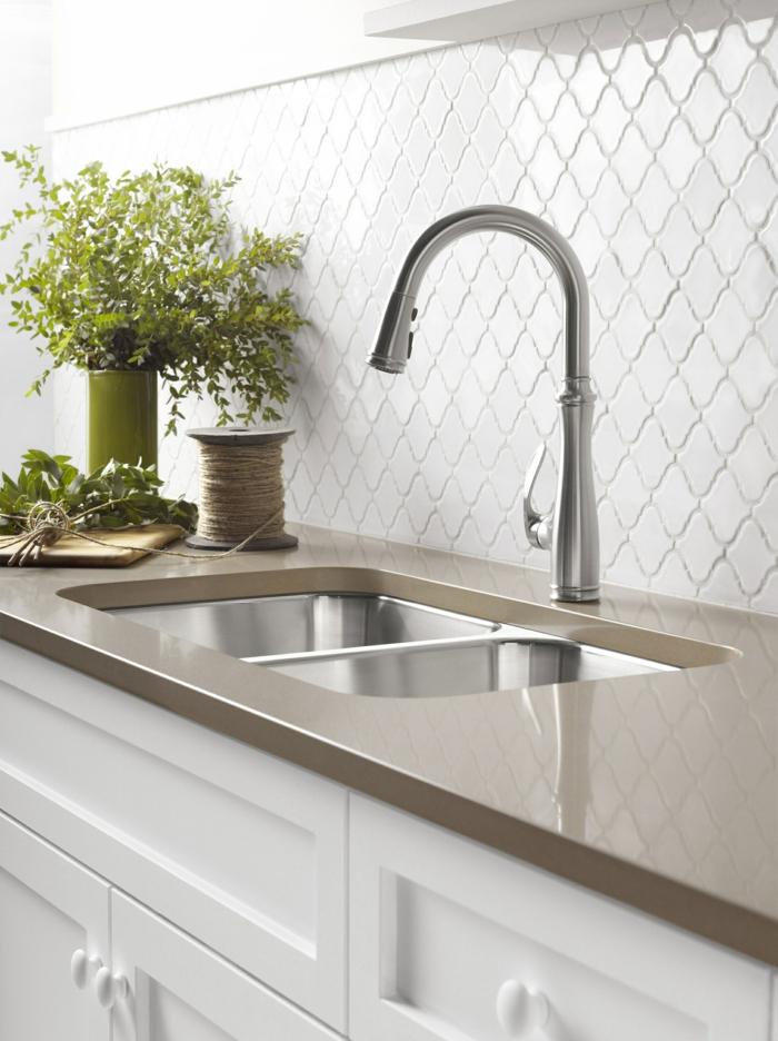 design küchen weiße küchenschränke pflanzen
